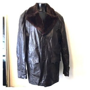 Men's Montgomery Ward Brown Leather Coat